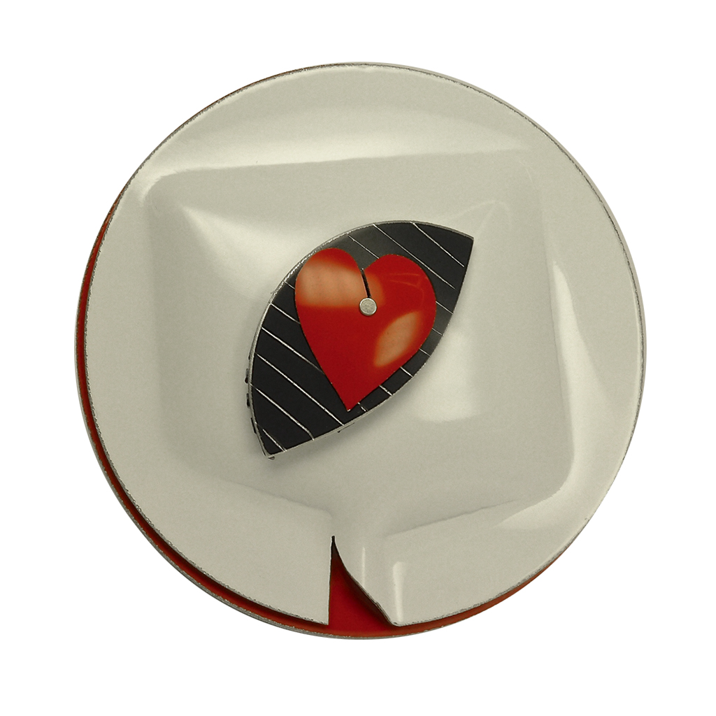 Aluminum Cartoonis Roundos Jewelry from David LaPlantz | Heart Eye Broach