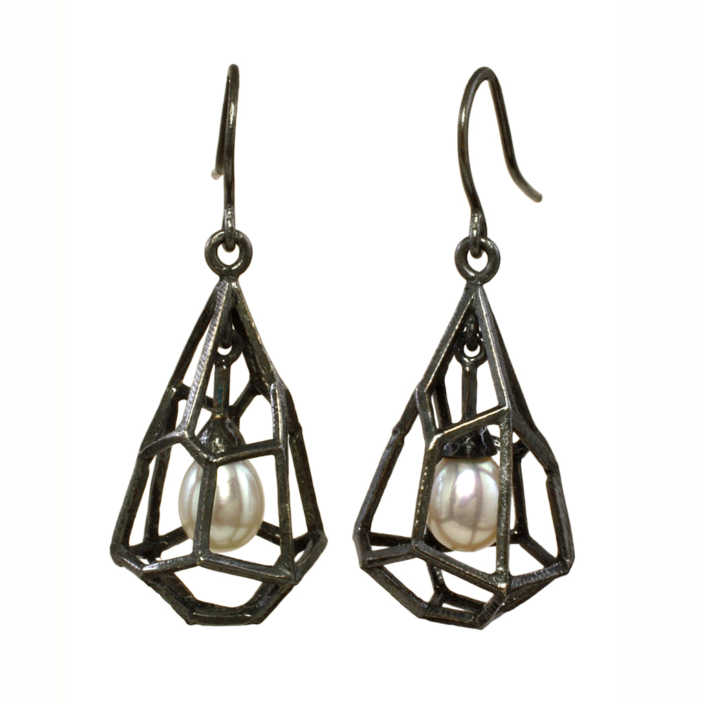 Liaung Chung Yen Contemporary Jewelry | Rock Shaped Cage Earrings