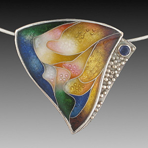 Sheila Beatty's graceful triangle cloissone pendant set in sterling silver with sapphires