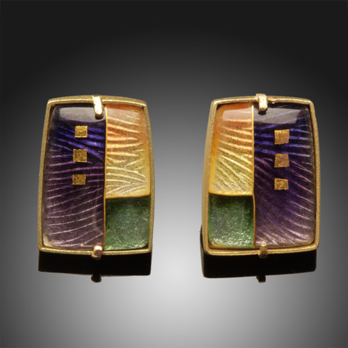 Art Enamel Jewelry, Morning Landscape Earrings by Amy Roper Lyons, Modern Cloisonne Jewelry