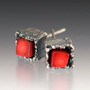 Art Jewelry, Cubeberry Post Earrings with REd Coral by Aleksandra Vali