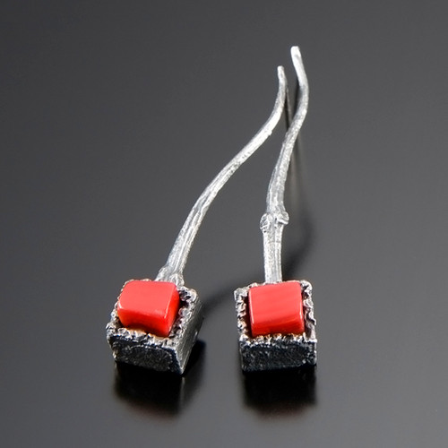 Art Jewelry, Cubeberry Drop Earrings with Red Coral by Aleksandra Vali