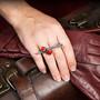 Cubeberry Ring on model, Art Jewelry by Aleksandra Vali