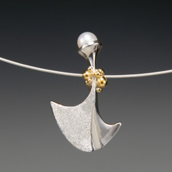Flirting Pendant - White Pearl, Art Jewelry by Aleksandra Vali