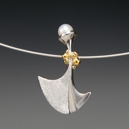 Flirting Pendant - White Pearl, Art Jewelry by Aleksandra Vali