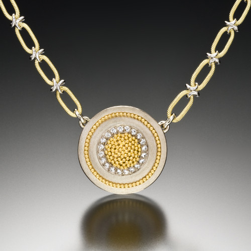 Medium Circle of Light Necklace, Fine Art Jewelry by CORNELIA GOLDSMITH