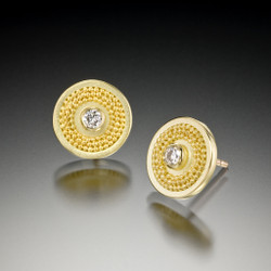 Yellow Gold Disc Earrings, Fine Art Jewelry by CORNELIA GOLDSMITH
