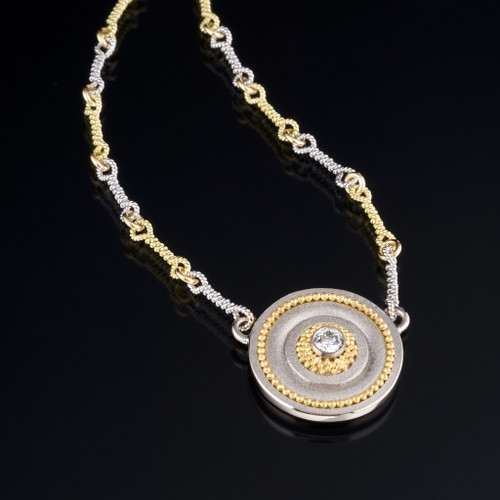 Small Disc Necklace, Fine Art Jewelry by CORNELIA GOLDSMITH