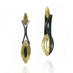 Moire Marques Link Earrings, Modern Jewelry by Keiko Mita