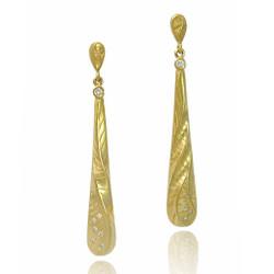 Modern Art Jewelry, Yellow Gold Sand Dune Long Tear Drop Earrings on Model by Keiko Mita