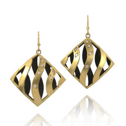 Moire Large Square Earrings with Diamonds, Modern Jewelry by Keiko Mita