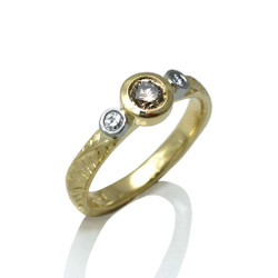 Sand Dune Three Stone Ring, Fine Art Jewelry by Keiko Mita