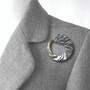 Tidal Pin on model, Fine Art Jewelry by Keiko Mita