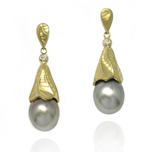 Sand Dune Pearl Dropn Earrings, Yellow Gold, Fine Art Jewelry by Keiko Mita