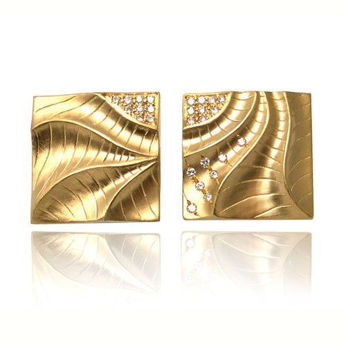 Sand Dune Square Pizzle Earrings, Yellow Gold, Fine Art Jewelry by Keiko Mita