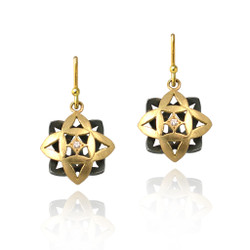 Moire Mini Flower Earrings, Modern Jewelry by Keiko Mita
