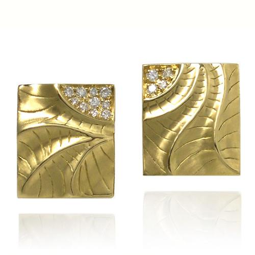 Sand Dune Rectangular Puzzle Earrings, Yellow Gold, Fine Art Jewelry by Keiko Mita