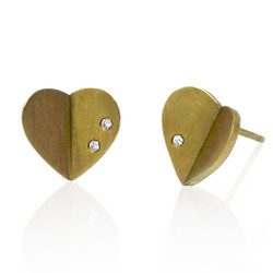 Origami Heart Studs, 14K Yellow, Modern Art Jewelry by Keiko Mita