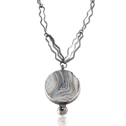 Round Grey Drusy Necklace, Art Jewelry by Lori Gottlieb