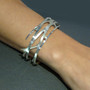 Random Order Large Cuff on model, Contemporary Jewelry by Maressa Tosto Merwarth