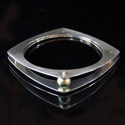 Embrace Bangle - Black/Grey Pearl, Contemporary Jewelry by Maressa Tosto Merwarth