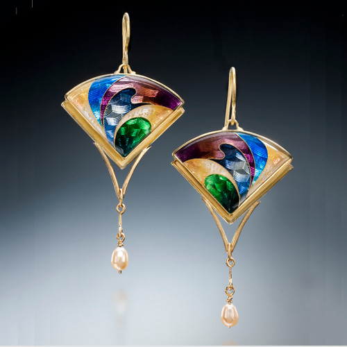 Golden Fan Earrings, Modern Art Jewelry by Sheila Beatty