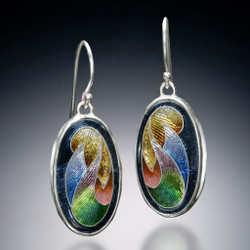 Twining Cresent Earrings, Modern Art Jewelry by Sheila Beatty