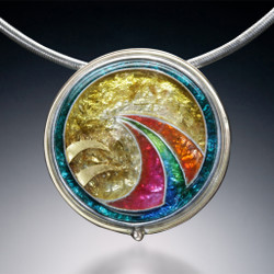 Golden Globe Necklace, Modern Art Jewelry by Sheila Beatty