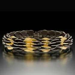 Black and Gold Pangolin Bracelet by Samantha Freeman, Contemporary Jewelry
