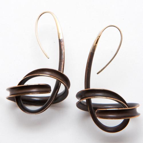 Spiral Bronze Dangle Earrings by Nancy Linkin, Unique Modern Jewelry