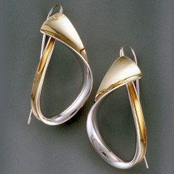 Curling Earrings, Modern Art Jewelry by Nancy Linkin