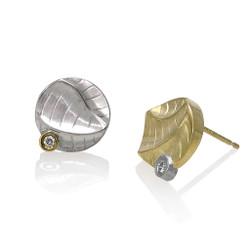Dune Small Round Studs Earrings, Modern Art Jewelry by Keiko Mita
