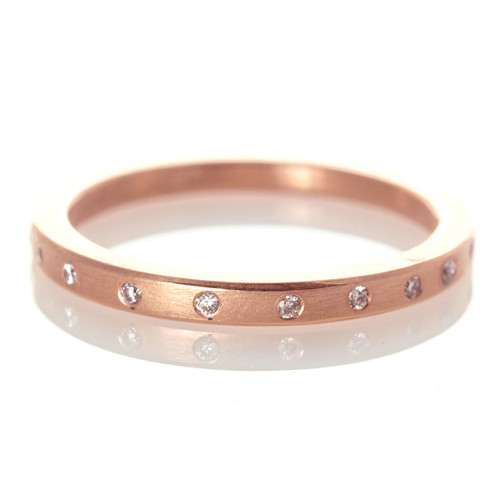 Textured Twinkle Band Ring in Rose Gold with Diamonds; Handmade Modern Jewelry by Ayesha Mayadas