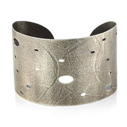 Open Wafer Cuff in Black; Oxidized Sterling Silver, Modern Jewelry by Ayesha Mayadas