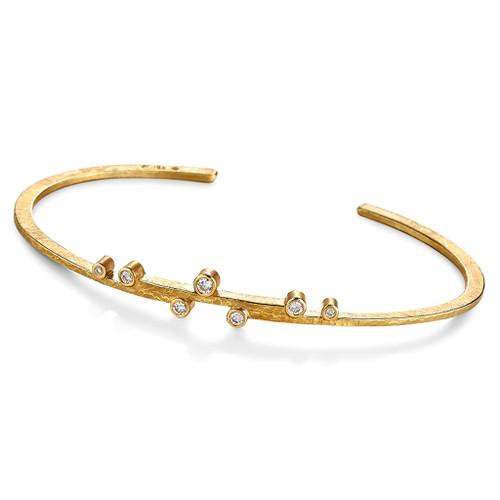 Linear Stepped Diamonds Cuff, Handmade Modern Jewelry by Ayesha Mayadas