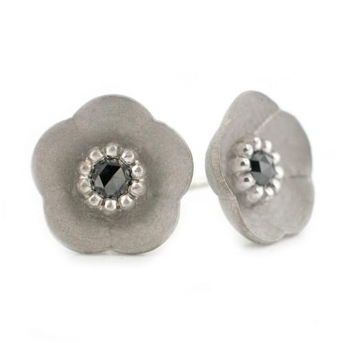 Silver Cherry Blossom Studs, Modern Jewelry by Catherine Iskiw