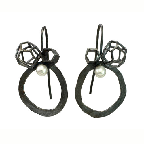 Black Rock Cluster Loop Earrings, Handmade Contemporary Jewelry by Liaung-Chung Yen