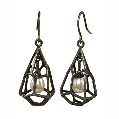 Rock Shaped Cage Earrings, Unique Art Jewelry by Liaung-Chung Yen