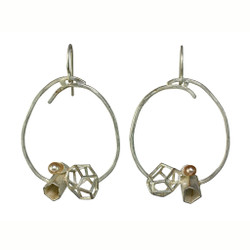 Rock Cluster Loop Earrings, Contemporary Jewelry by Liaung-Chung Yen