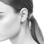Small Gold Cherry Blossom Studs on Model, Modern Jewelry by Catherine Iskiw