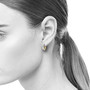 Large Reversible Everyday Diamond Hoops on Model, Contemporary Jewelry by Catherine Iskiw