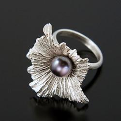 Solanum Ring-Sterling Silver with Black Pearl, Modern Art Jewelry  by Aleksandra Vali
