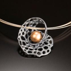 Recollection Pendant - Oxidized Silver, Art Jewelry by Aleksandra Vali