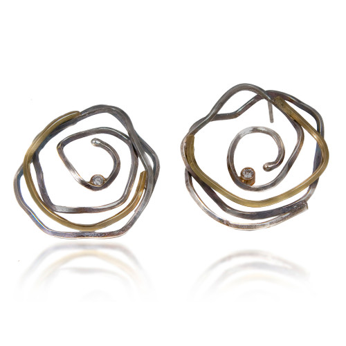 Whirlpool Earrings, Handmade Modern Art Jewelry by Lori Gottlieb