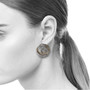 Whirlpool Earrings on Model, Handmade Modern Art Jewelry by Lori Gottlieb