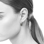 Rectangular Bar Earrings on Model, Modern Jewelry by Estelle Vernon
