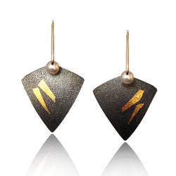 Keum boo Kite Earrings, Modern Art Jewelry by Estelle Vernon