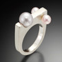 Pearls In Motion Ring (White pearl in center), Contemporary Jewelry by Estelle Vernon