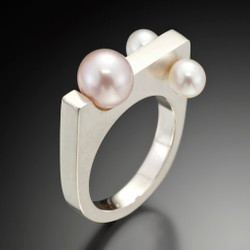 Pearls In Motion Ring (Pink pearl in center), Contemporary Jewelry by Estelle Vernon