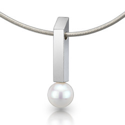 Rectangular Bar White Pearl Pendant, Contemporary Jewelry by Estelle Vernon